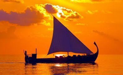 Sailing Ship, sunset, illustration, art