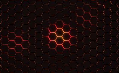 Hexagon, pattern, geometry, abstract, dark, 4k