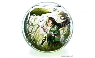 Tsuyu Asui, anime girl, bubbles, minimal