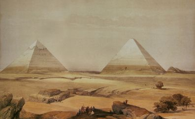 Egypt, pyramids, desert, artwork