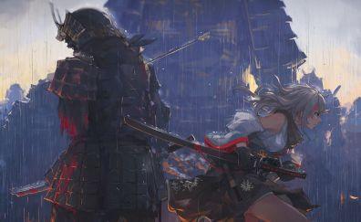Ninja, warrior, fight, anime, katana, art