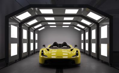 Dallara stradale, yellow sports car, 4k