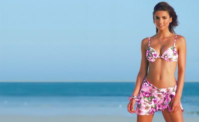 Jessiqa pace, woman, model, beach, bikini, 4k