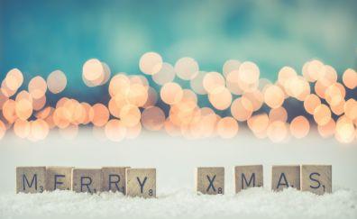 Merry christmas, holiday, bokeh, 2017, 5k