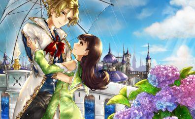 Cute, anime couple, rain, umbrella
