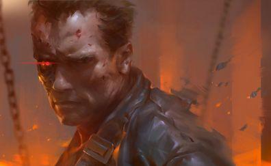 Arnold Schwarzenegger, Terminator, cyborg, art