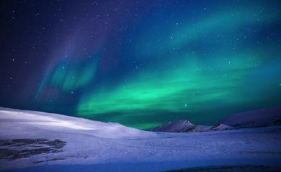Aurora borealis, landscape, night, sky, 5k