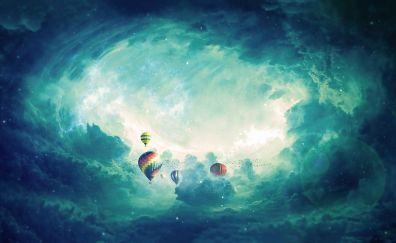 Hot air balloons, sky, clouds, 4k