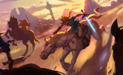 The Legend of Zelda: Breath of the Wild, 2017 game, art, 4k