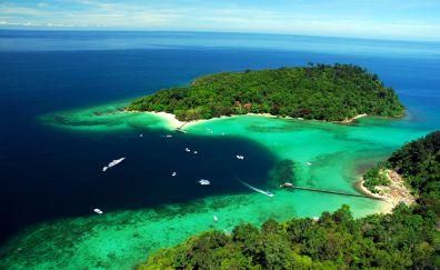 Caribbean island, holiday, sea, aerial view