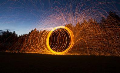 Fire, sparks, night, fireworks