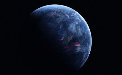 Dark, Blue planet, space, 4k