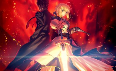 Sword and gun, saber, anime girl