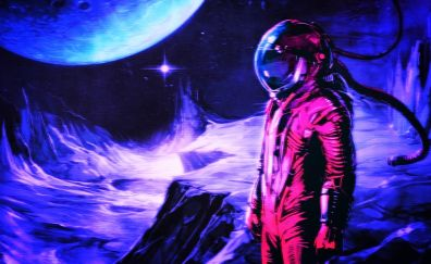 Astronaut, retro style, digital art