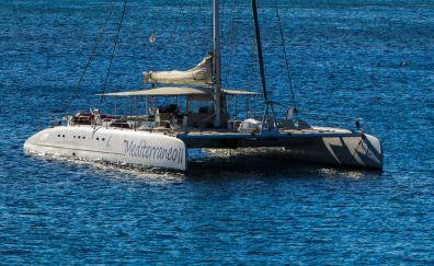 Catamaran boat in sea