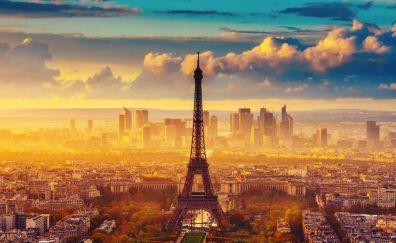 Eiffel tower, fog, clouds, Paris, city, architecture