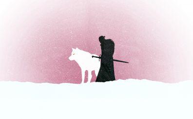Wolf, Jon Snow, game of thrones, minimal, art