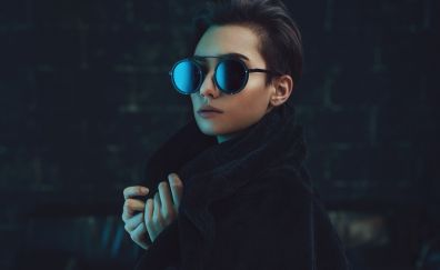 Woman with glasses, girl model