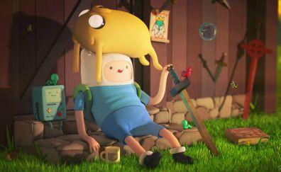 Adventure time, cartoon, Jake the Dog, Finn the Human, tv show, 4k