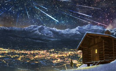 Winter, stars fall, landscape, mountains, night, anime, original