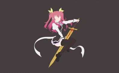 Stella Vermillion, Rakudai Kishi no Eiyuutan, anime girl, minimal, art