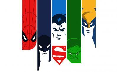Super man, batman, hulk, spider man, wolverine, superhero, 4k, minimalism
