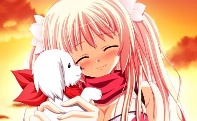Cute anime girl, Sakura, Fortissimo, puppy