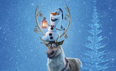 Olaf's Frozen Adventure, animation movie, snowman, Reindeer, 4k