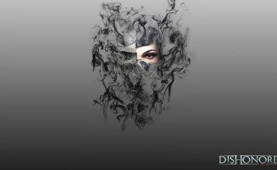 Corvo Attano, Emily Kaldwin, Dishonored, video game, face, art