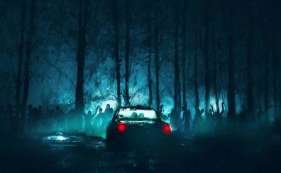 Zombies, car, night, dark, art