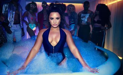 Demi Lovato, bathtub, foam, 4k, 2017