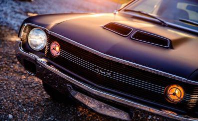 1970 AMC AMX, headlights, car, 4k