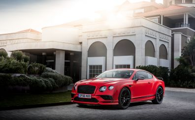 Bentley Continental GT, red luxury car