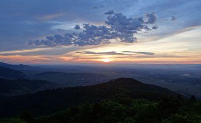Panorama, morning, nature, horizon, mountains