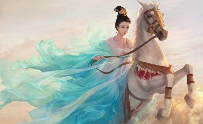 Princess, white horse, Fan Bingbing, artwork