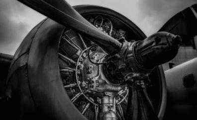 Aircraft engine, monochrome