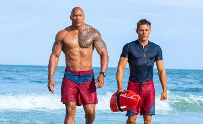 Baywatch, movie, Dwayne Johnson, Zac Efron, beach