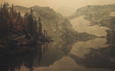Sepia, nature, lake, mountains