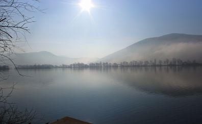 Lake, mountains, mist, dock, nature, sun