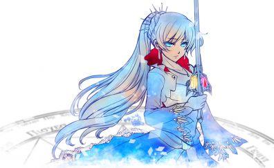 Weiss Schnee, RWBY, white hair anime girl, anime