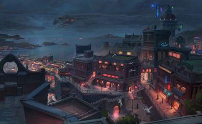 City, night, lights, fantasy, art
