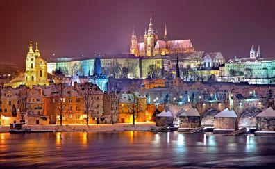 Prague, city, house, castle, winter, lights