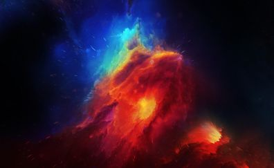 Nebula, space, stars, clouds, 4k