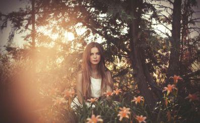 White dress, outdoor, brunette, girl model, sepia