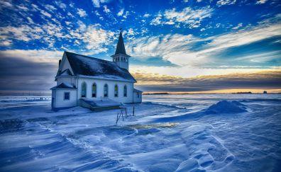 Church, winter, snow, clouds, sunset, skyline
