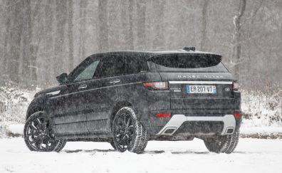 Range Rover Evoque Autobiography Si4, back car, winter, view, 4k