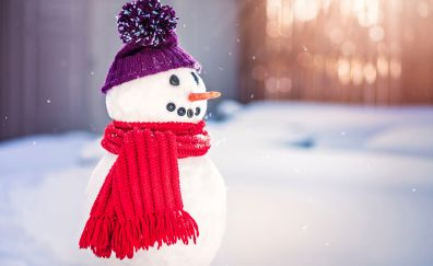 Snowman, winter, snow, scarf