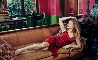 Amber Heard in red dress, sofa