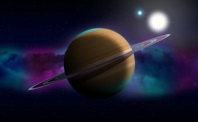 Planet, Saturn, space, digital art, 4k