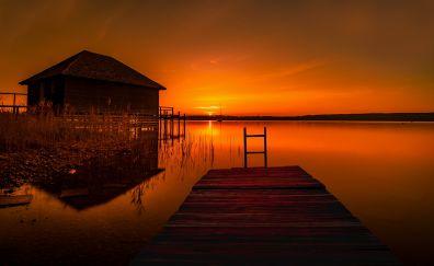 House at pier, sunset, skyline, lake, 5k